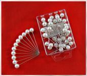 50 Stück Dekonadeln Perle WEISS 10mm