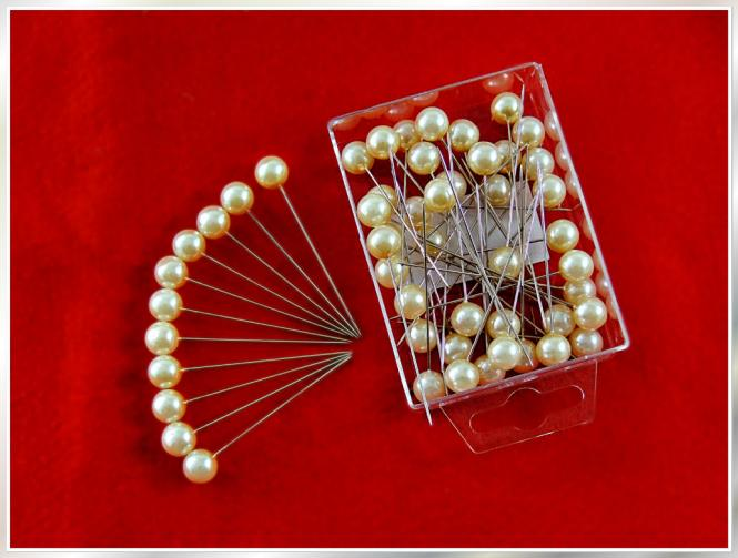 50 Stück Dekonadeln Perle CHAMPAGNER 10mm